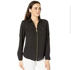 Michael Kors Zip Up Blouse with Gold Hardware